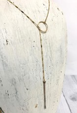 "Gold Filled Chain and Silver Bar Stem Lariat (24"")"