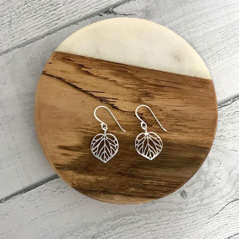 Matte Sterling Silver Leaf Earrings