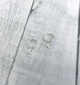 Sterling Silver Hoop Earrings with Floating Crescent Moons