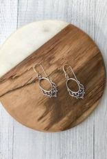 Sterling Silver Open Oval with Filigree Design Dangle Earrings