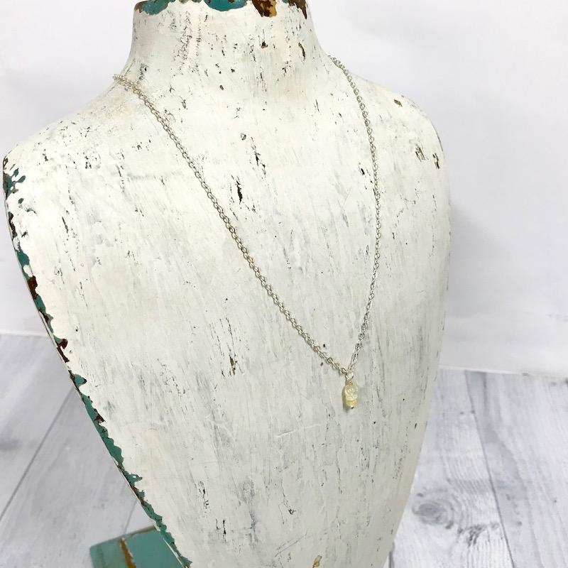 Handmade Silver Necklace with Opal Stack