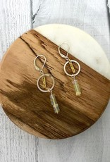 Handmade Sterling Silver Earrings with big shiny silver ring, medium 22k plate. Stack 6 opals
