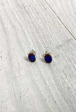 Polished Opal Electroformed Stud Earrings
