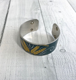 """1"""" Cuff Bracelet made from Upcycled Beer Cans, Upland Wheat (tops)"""