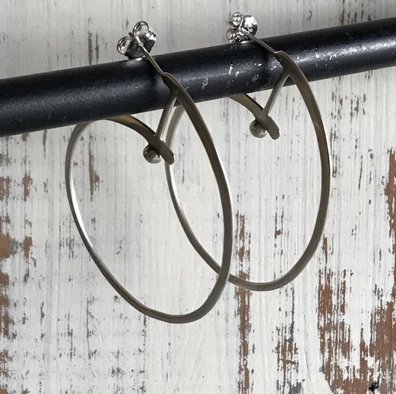 Handmade Silver Modern Circle Earrings