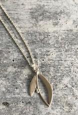Handmade Silver Two petals Necklace