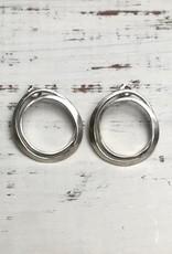 Handmade Silver Modern Double Circle Earrings
