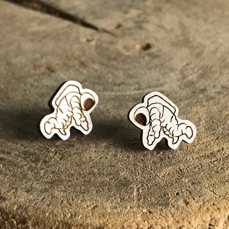 Handmade astronaut Lasercut Wood Earrings on Sterling Silver Posts