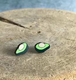 Handmade avocado Lasercut Wood Earrings on Sterling Silver Posts