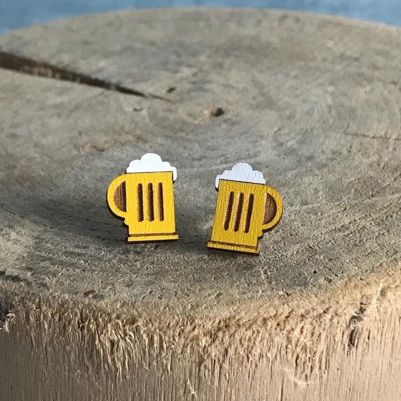 Handmade beer mugs Lasercut Wood Earrings on Sterling Silver Posts