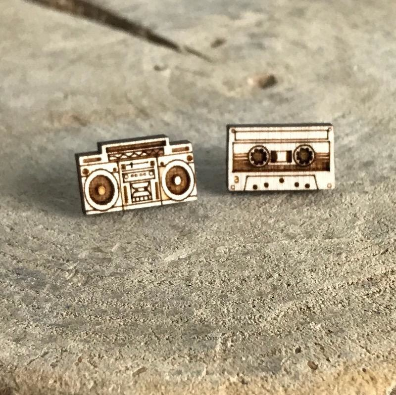 Handmade boombox/tape - natural Lasercut Wood Earrings on Sterling Silver Posts