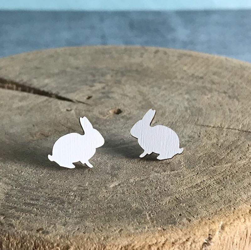 Handmade bunny - white Lasercut Wood Earrings on Sterling Silver Posts