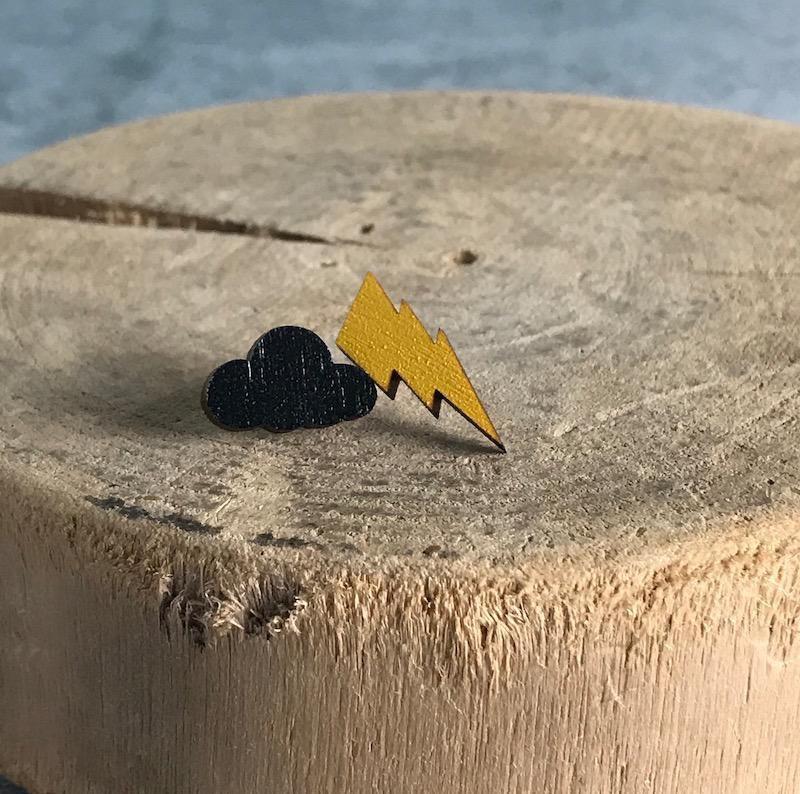 Handmade cloud/lightning - black/yellow Lasercut Wood Earrings on Sterling Silver Posts