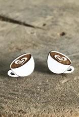 Handmade coffee Lasercut Wood Earrings on Sterling Silver Posts