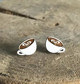 Handmade coffee Lasercut Wood Earrings on Sterling Silver Posts