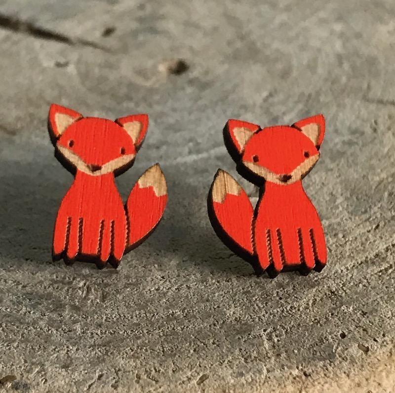 Handmade fox Lasercut Wood Earrings on Sterling Silver Posts
