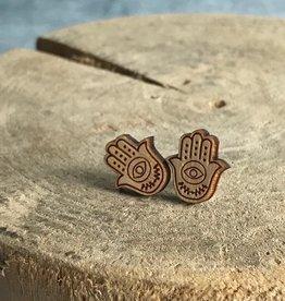 Handmade hamsa natural Lasercut Wood Earrings on Sterling Silver Posts