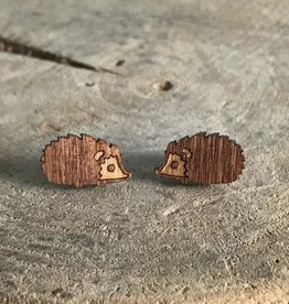 Handmade hedgehog Lasercut Wood Earrings on Sterling Silver Posts