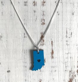 Handmade Indiana, Blue Lasercut Wood Pendant on 18-in Sterling Silver Necklace
