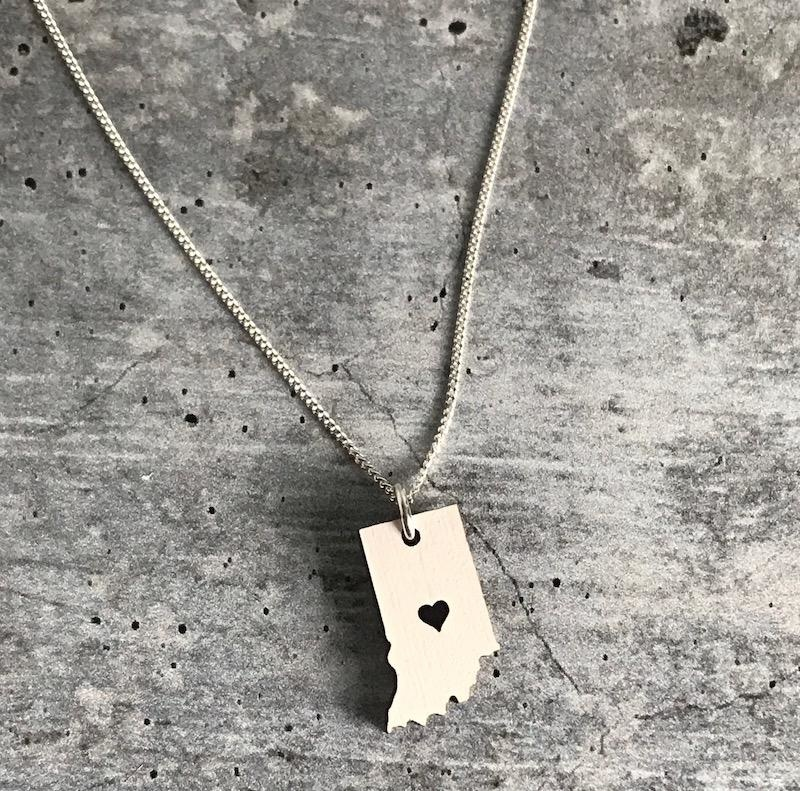 Handmade Indiana, White Lasercut Wood Pendant on 18-in Sterling Silver Necklace