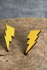 Handmade lightning bolts - yellow Lasercut Wood Earrings on Sterling Silver Posts