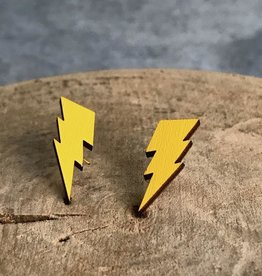 Handmade lightning bolts - yellow Lasercut Wood Earrings on Sterling Silver Posts