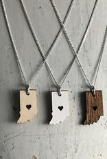 Handmade Indiana, Dark Lasercut Wood Pendant on 18-in Sterling Silver Necklace