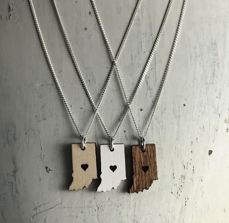 Handmade Indiana, Natural Lasercut Wood Pendant on 18-in Sterling Silver Necklace