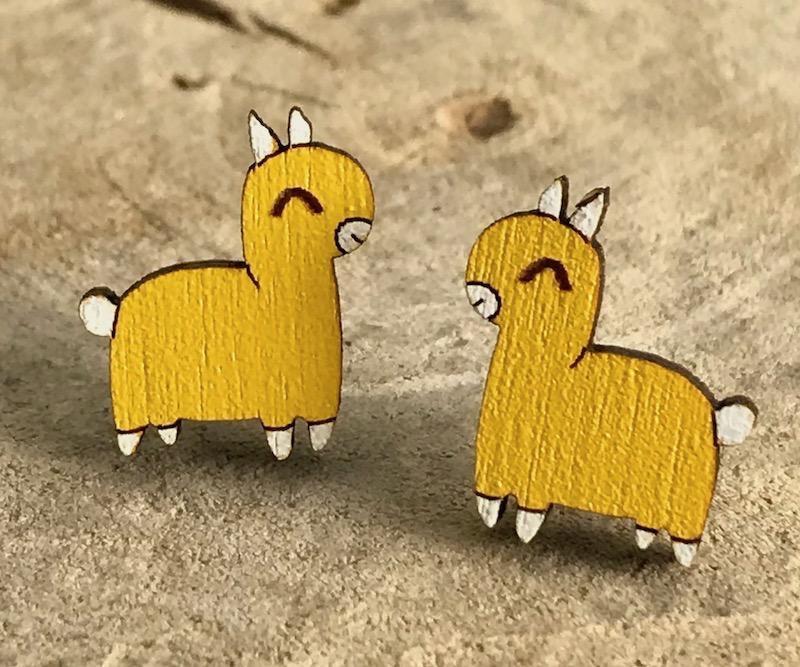 Handmade llama - yellow Lasercut Wood Earrings on Sterling Silver Posts
