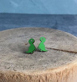 Handmade Longneck Dino Lasercut Wood Earrings on Sterling Silver Posts