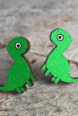 Handmade Longneck Dino Lasercut Wood Earrings on Sterling Silver Posts