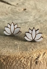 Handmade lotus - white Lasercut Wood Earrings on Sterling Silver Posts