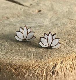 Handmade lotus - white Lasercut Wood Earrings on Sterling Silver Posts