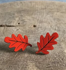 Handmade Orange Leaf Lasercut Wood Earrings on Sterling Silver Posts