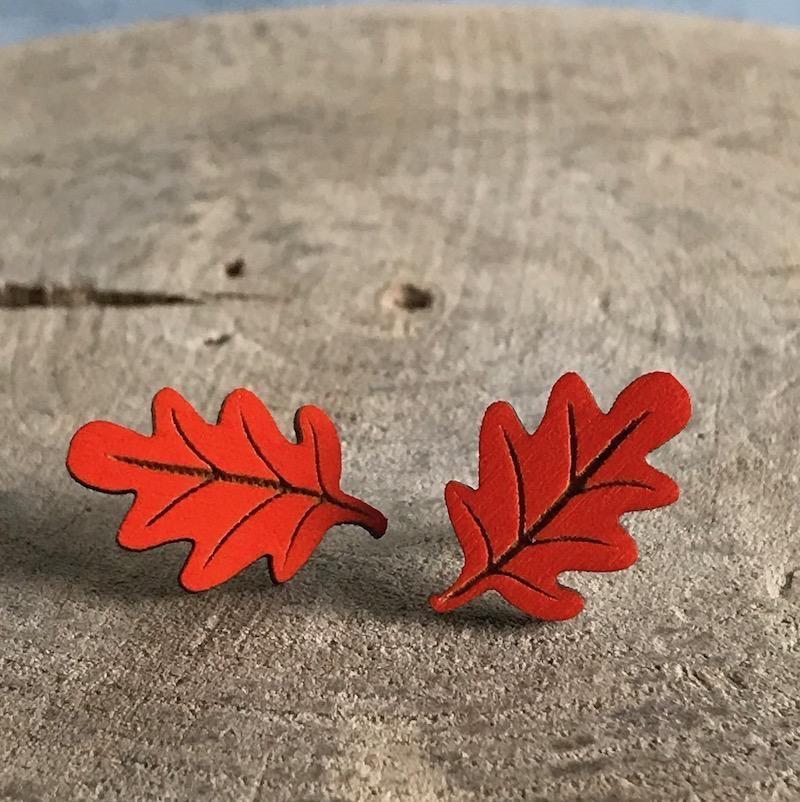 Handmade Orange Leaf Lasercut Wood Earrings on Sterling Silver Posts