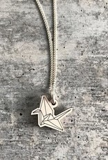 Handmade Origami Crane - natural Lasercut Wood Pendant on 18-in Sterling Silver Necklace