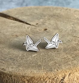 Handmade paper crane - natural Lasercut Wood Earrings on Sterling Silver Posts