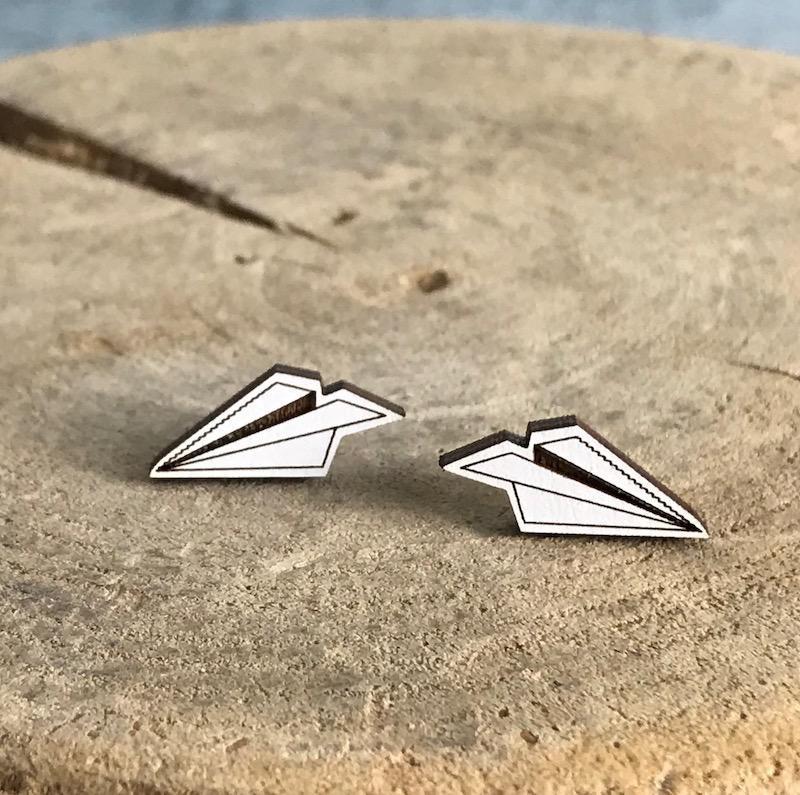 Handmade paper plane - white Lasercut Wood Earrings on Sterling Silver Posts