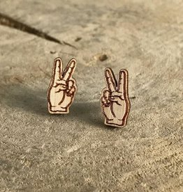 Handmade peace sign Lasercut Wood Earrings on Sterling Silver Posts