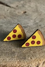 Handmade pizza Lasercut Wood Earrings on Sterling Silver Posts