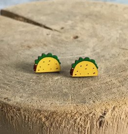 Handmade taco Lasercut Wood Earrings on Sterling Silver Posts
