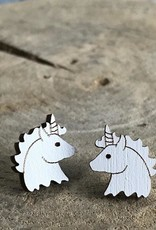 Handmade unicorn - white Lasercut Wood Earrings on Sterling Silver Posts