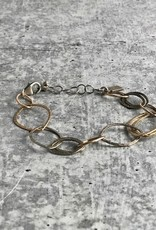 Handmade Sterling and 14kt gold fill open leaf shape link bracelet