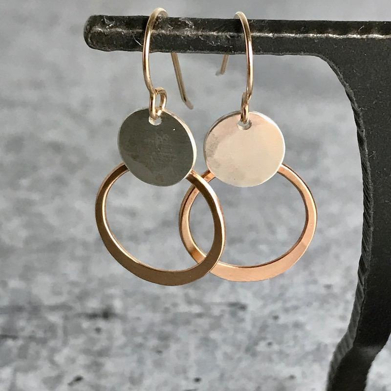Handmade14kt Gold fill Loop and sterling disc earrings