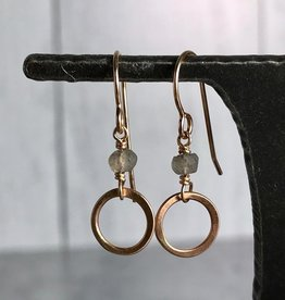 Handmade 14Kt Goldfill Open Circle with 4mm Tiny Faceted Labradorite Earrings