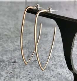 Handmade 14kt Goldfill and Sterling Silver Long V-shape earrings