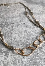 "Handmade 14kt Goldfill Leaf shape links on double strand 24"" neckalce strung with sterling, 6mm labradorite, grey pearl, and 14kt gold vermeil bead"