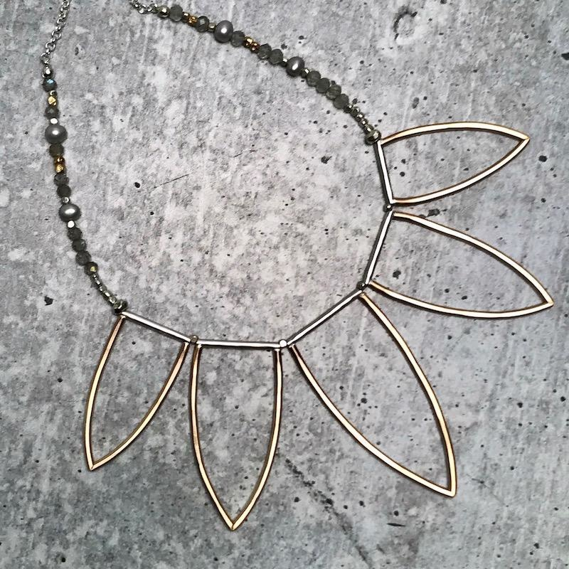 Handmade 14kt Goldfill Leaf Fan Shape Necklace with Labradorite, and Grey Pearl on sterling silver chain
