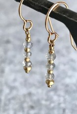 Handmade 4mm Tiny Faceted Labradorite and Gold Vermeil Earrings