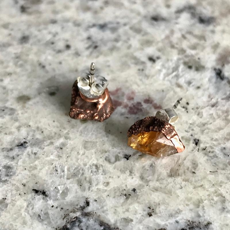 Raw Citrine Electroformed Stud Earrings, Copper with Sterling Posts